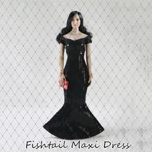FT008 1/6 Scale Female Clothes Black Fishtail Maxi Dress With handbag Model for Woman Action Figure Body Accessory fishtail design bag accessory