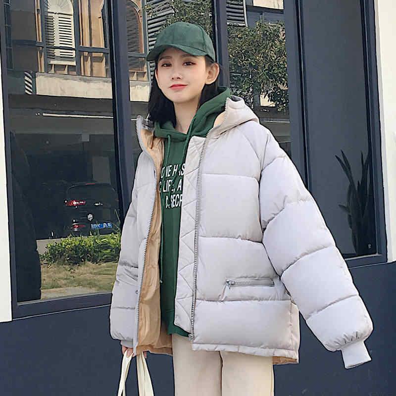 Корейский стиль, теплая зимняя куртка для женщин, с капюшоном, однотонный, черный, серый, женский пуховик, свободный, большой размер, женская короткая парка, осенние толстовки