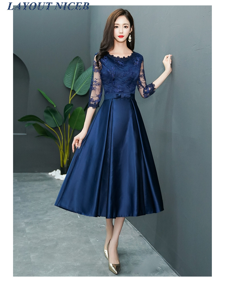 Tea Length Navy Blue Evening Dress Half Sleeve Lace Robe De Soiree Women Formal Party Dress Abiye Gece Elbisesi Vestido De Festa