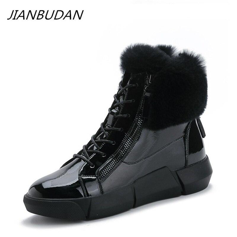 JIANBUDAN, botines de invierno impermeables de charol, botas de nieve planas informales para mujer, botas de felpa cálidas con cremallera, zapatos de algodón 35 40|Botas de nieve|   - AliExpress