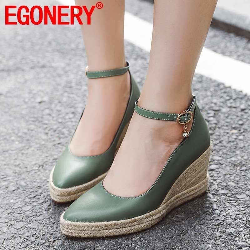 EGONERY bahar yeni moda kadın pompaları dışında süper yüksek topuklu platformu yuvarlak ayak toka kadın ayakkabı damla nakliye boyutu 32 -44