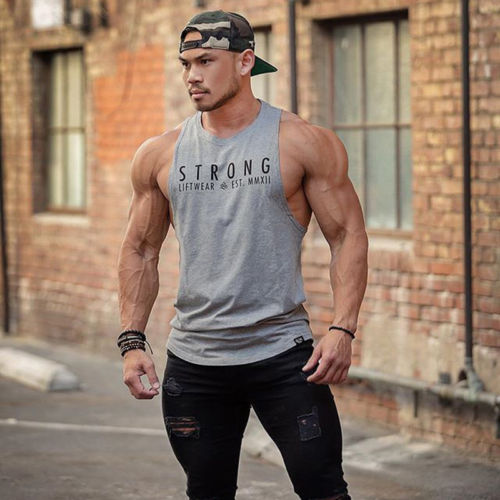 Mens Bodybuilding Stringer Tank Top Y-Back Gym Workout Sports Sleeveless Vest Muscle Shirt Fitness Clothes Fashion