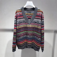 Women autumn winter High quality V-neck sweaters Ethnic style loose pullover knit sweater A845 crew neck ethnic style geometric graphic sweater
