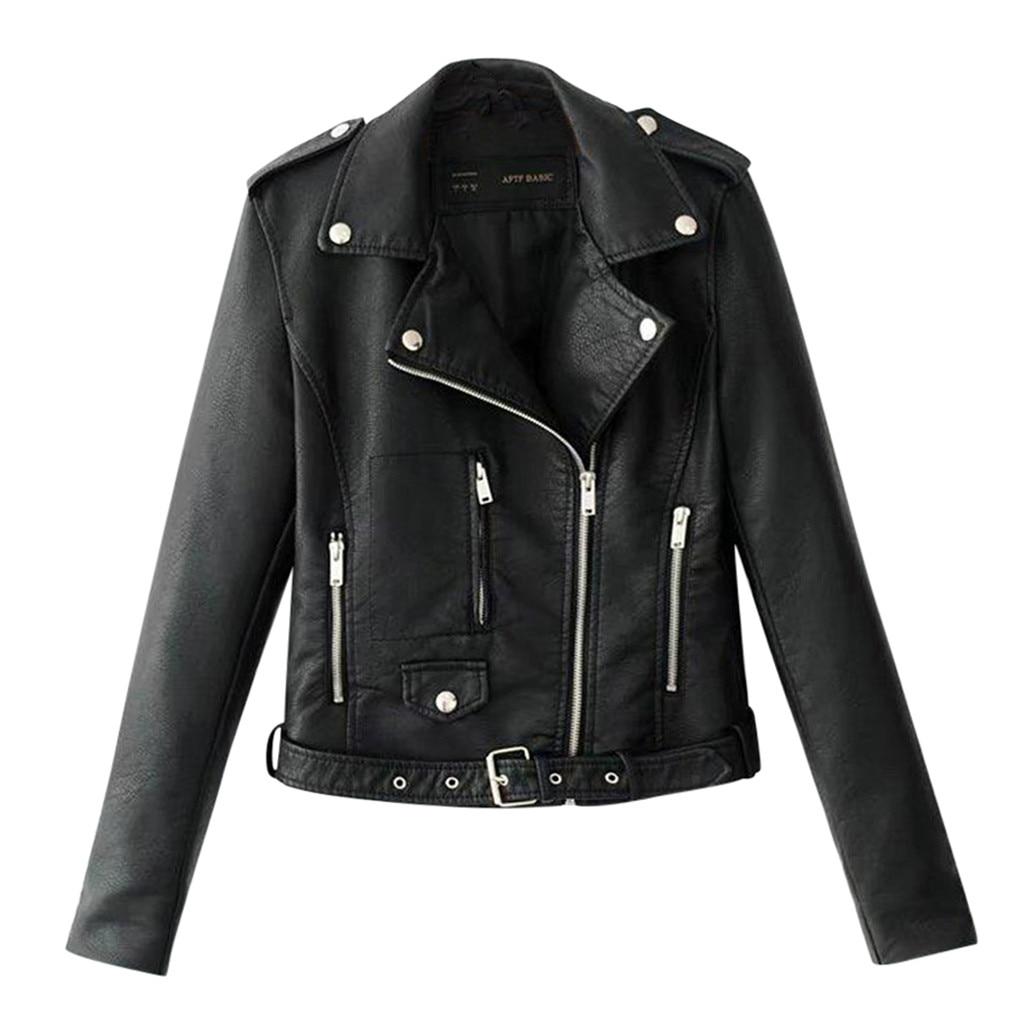 Women's Leather Jacket куртка кожаная женская Lapel Motor Jacket Coat Zip Biker Short Punk Cropped Tops #3