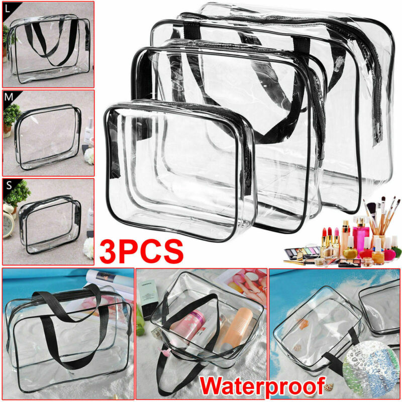 Fashion 3Pc PVC Travel Cosmetic Make Up Bag Clear Transparent Toiletry Bag Wash Kit Set