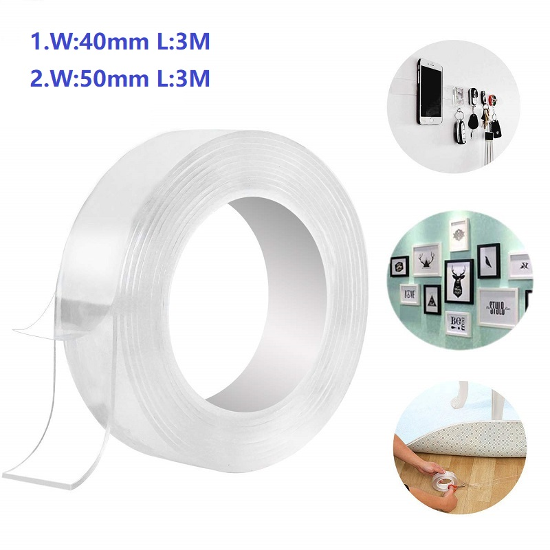 2 mm in Thickness 3.28 Feet Double Sided Gel Tape Traceless Washable Adhesive Tape Removable Nano Gel Pads for for Home Office DIY Need