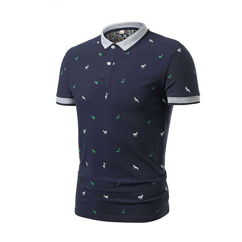 Men Polo Shirt Printing Casual Slim Fit Summer New Male Business Polos Short Sleeve Masculina Tops Jerseys Cotton Brand Clothing