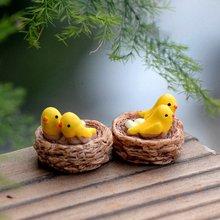Маленькое Птичье гнездо, фигурки, миниатюрные фигурки из смолы, сказочный сад, миниатюры, Мультяшные животные, сделай сам, ландшафтный орнамент, домашний декор