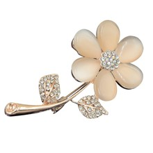 Hot Sale Trendy Stone Flower Brooch Pin Women Garment Accessories Jewelry Rose Gold Color Brooch Rhinestone Pin(China)