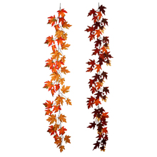 Artificial Maple Leaf Hanging Fall Leave Vines Plants Autumn Wedding Door Fireplace Christmas Decoration