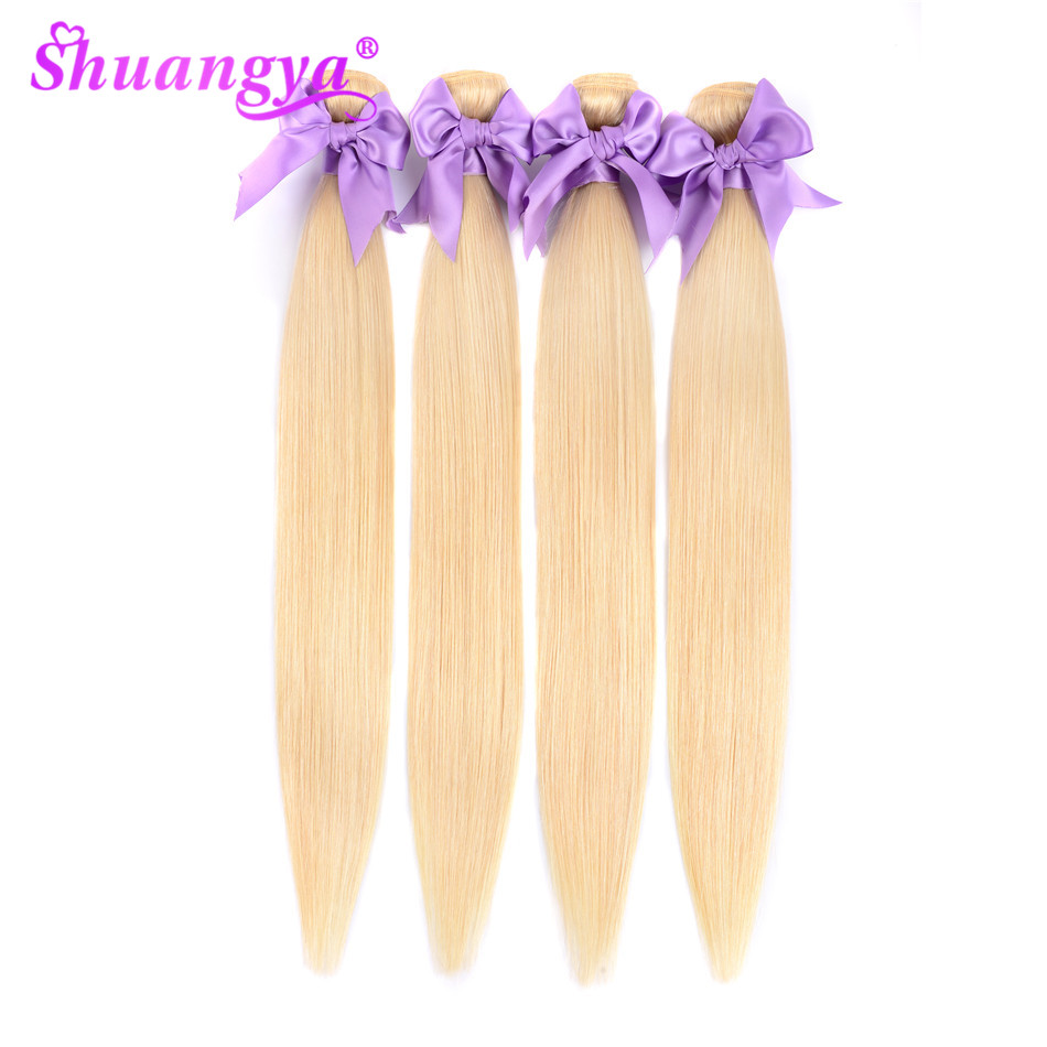 Malaysian Platinum Blonde Bundles Straight Remy Human Hair Extensions Blonde 613 Hair 8- 26 Inch 1 Piece Or 3 OR 4 Bundles Deal image