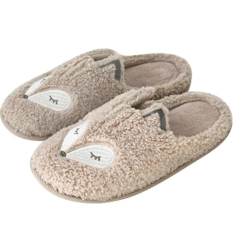 MCCKLE/женские домашние тапочки; женская обувь на плоской подошве; Cutte Fox; теплые женские зимние короткие плюшевые домашние мягкие женские туфли размера плюс