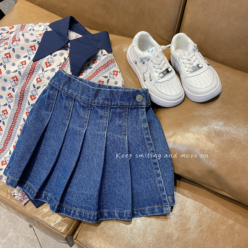 baby girls jeans shorts skirt pleated ruched toddler kids clothes Korean bottoms denim cotton button spring summer 2 to 10 yrs