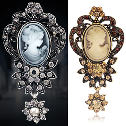 2020 New Fashion Antique Silver Color Vintage Brooch Pins Elegant Beauty Queen Cameo Rhinestone Brooches For Women Broches