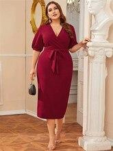 Robe crayon pour femmes 3XL, robe d'été à col en V, manches lanternes, Slim, moulante, rouge, robes de travail et de bureau, 2020