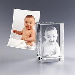 Moldura de vidro com gravura a laser 2d/3d, moldura de fotos de cristal personalizada, aniversário, presente de papai