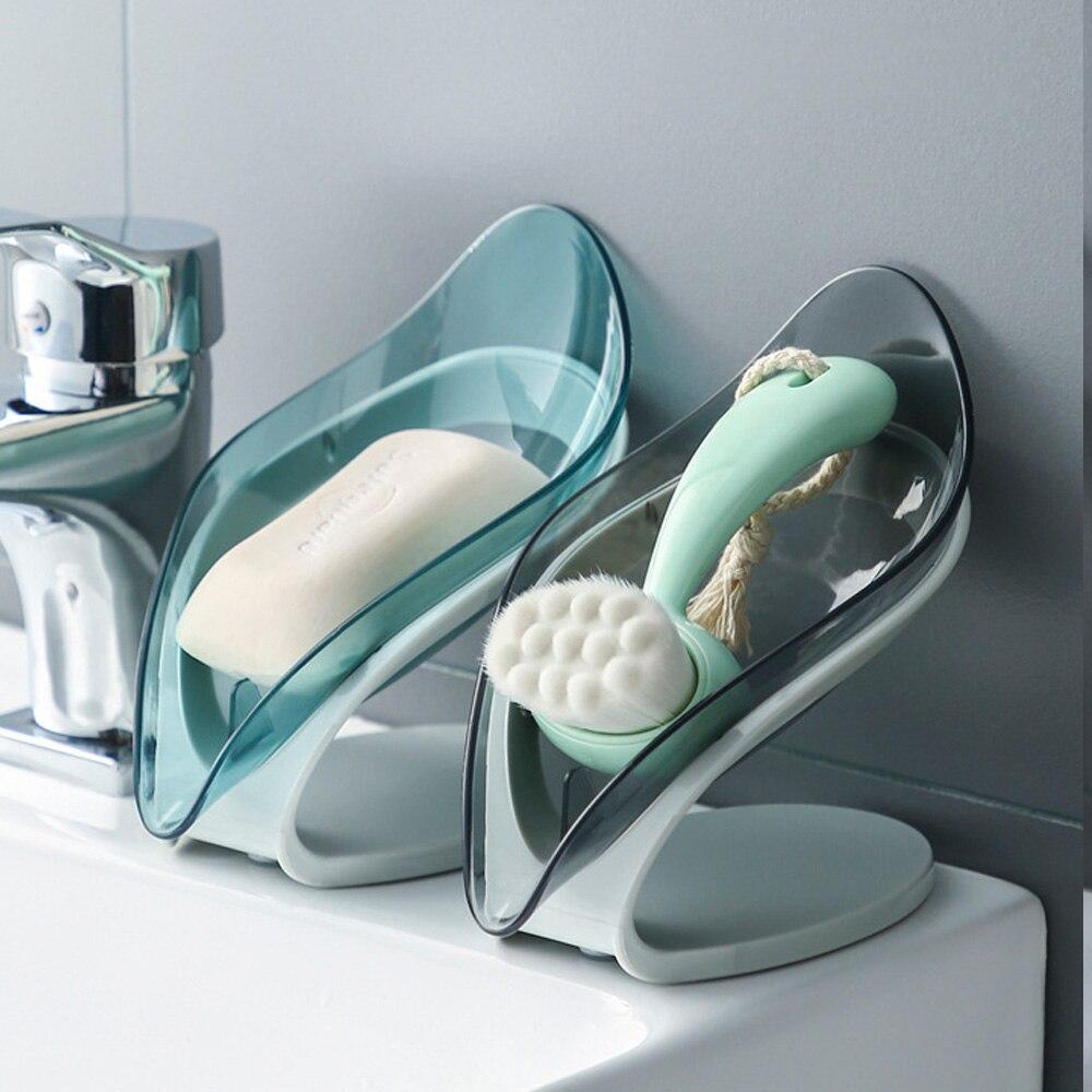 Leaf Shape Soap Box  Non-Slip Drain Soap Holder Box Bathroom Shower Soap Holder Dish Storage Plate Tray Bathroom Supplies 7