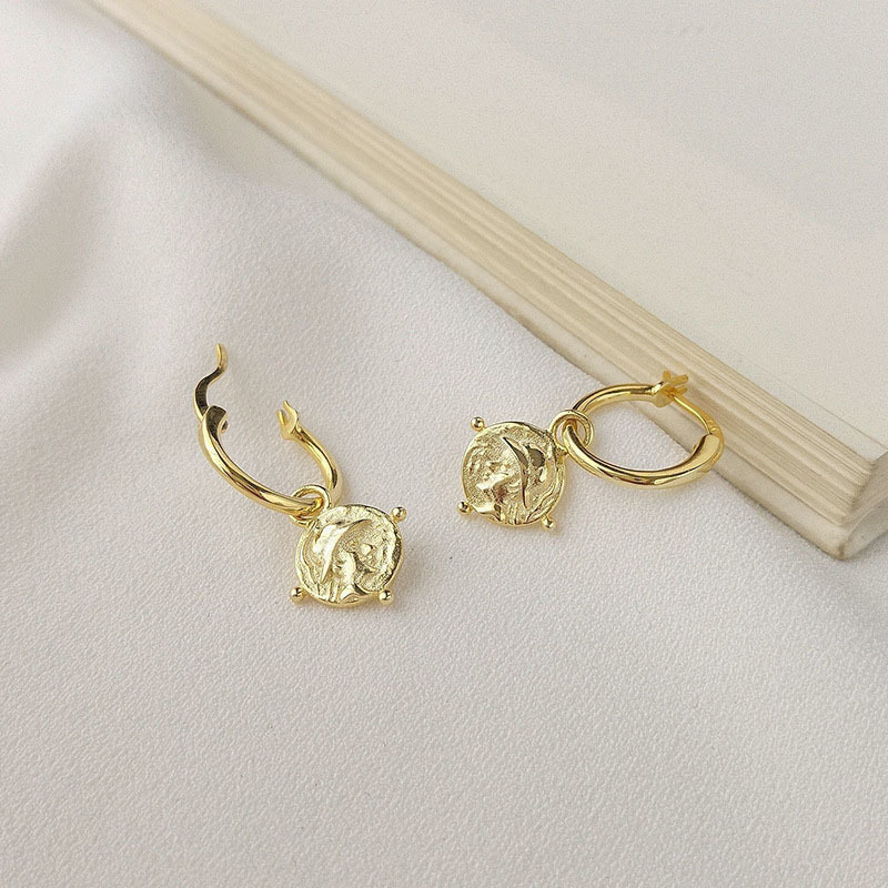 Gold Emboss Coin Vintage Big Circle Earings 925 Sterling Silver Drop Earrings For Women Fine Jewelry Plata De Ley 925 Mujer