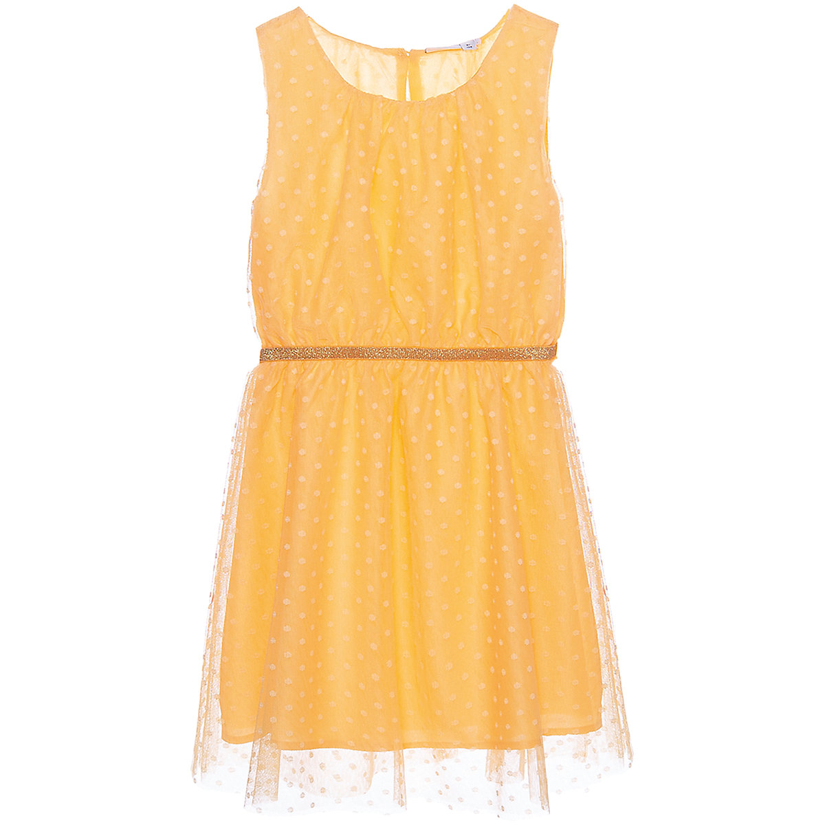 NAME IT Dresses 10623621 Dress girl children checkered pattern collar fitted silhouette sequins Polyester Casual Yellow Sleeveless Sleeve