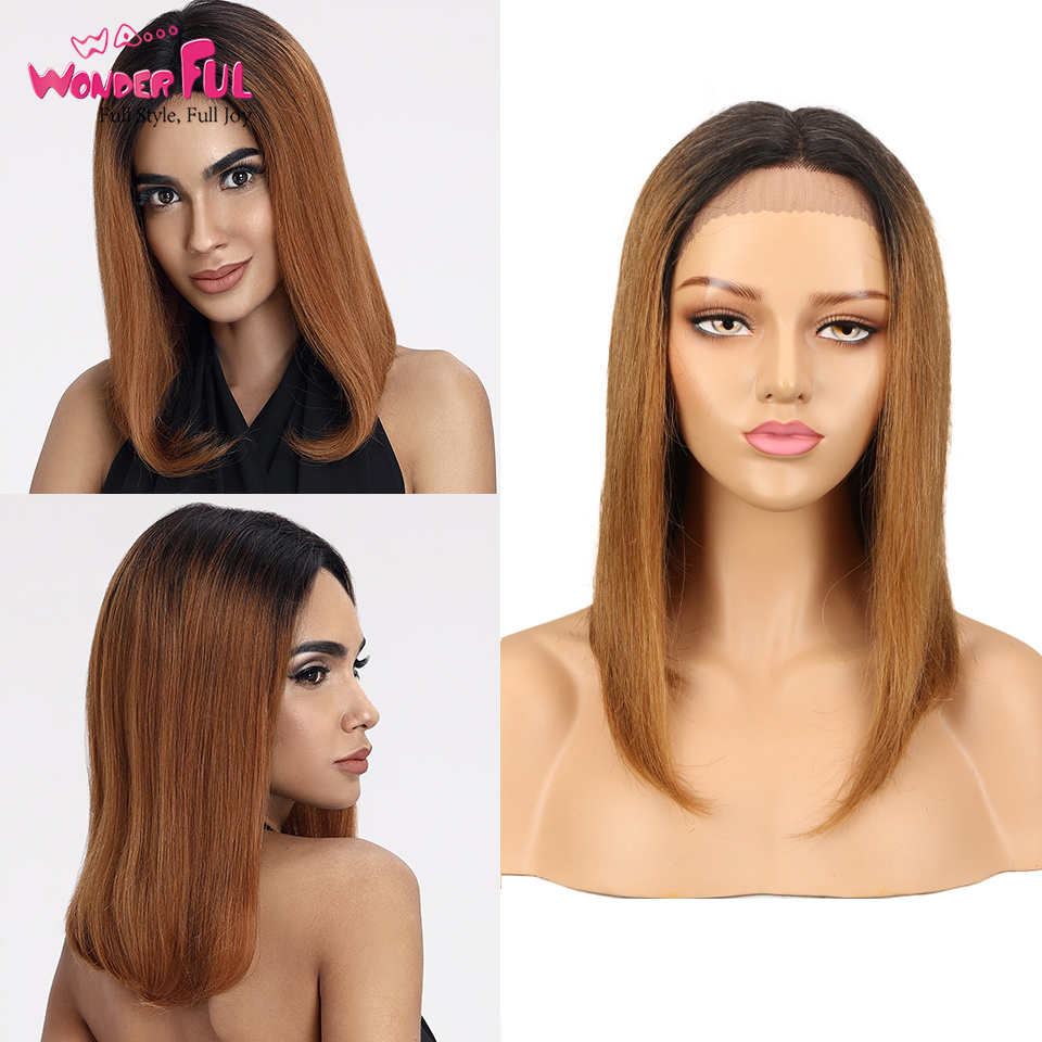 Lace Front Human Hair Wigs Pre Plucked Brazilian Remy Hair Ombre Blonde Blue Brown Straight Short