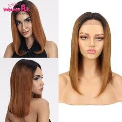 Spitze Front Menschliches Haar Perücken Pre Gezupft Brasilianische Remy Haar Ombre Blonde Blau Braun Gerade Kurze Bob Perücken 16Inch schnelle Versand