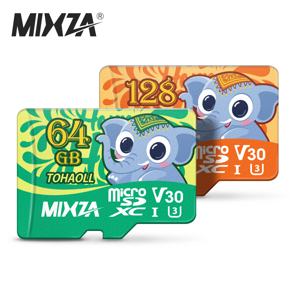 MIXZA Elephant Memory Card 256GB 128GB 64GB U3 80MB/S 32GB Micro Sd Card Class10 UHS-1 Flash Card Memory Microsd TF/SD Cards