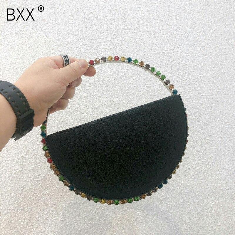 [BXX] 2020 Fashion Women Bag Diamond Metal Day Clutch Purse Handbags Round Shoulder Lady Phone Key Pocket Bag HK159