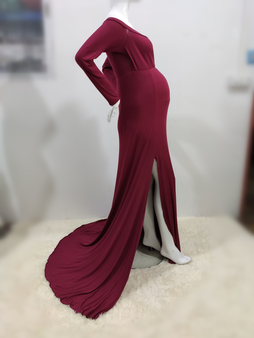 Sexy Shoulderless Maternity Dresses For Photo Shoot Maxi Gown Split Side Women Pregnant Photography Props Long Pregnancy Dress (22)