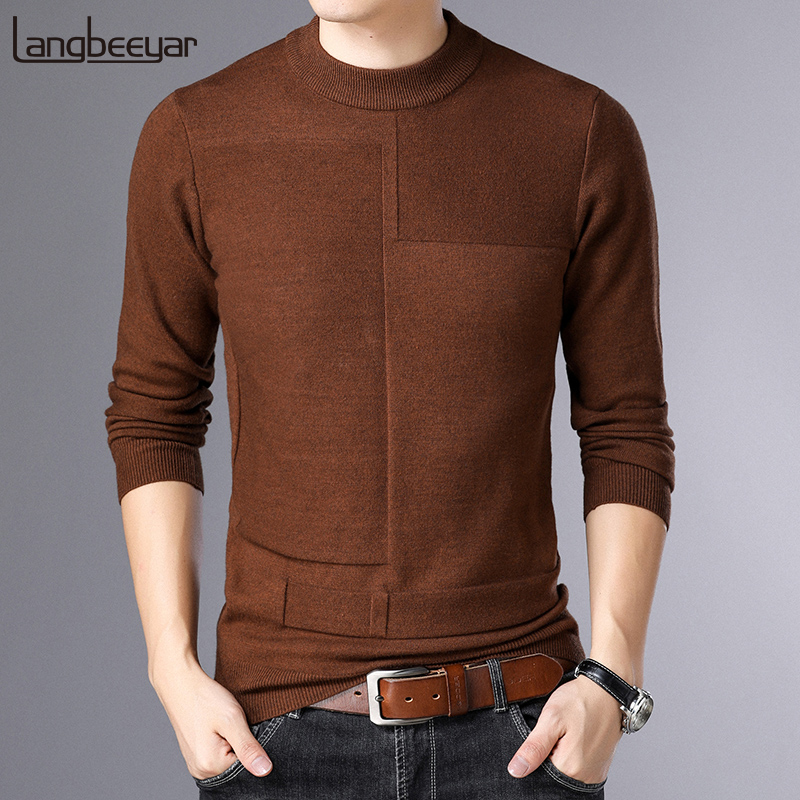2019 New Fashion Brand Sweater For Mens Pullovers Solid Color Slim Fit Jumpers Knitred Warm Autumn Korean Style Casual Clothes