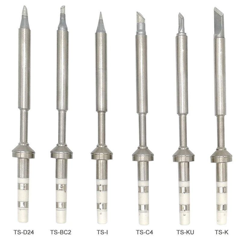 6pc TS100 Lead Free Soldering Iron Tips Replacement Tip Electric Soldering Iron Tip TS-K KU I D24 BC2 C4