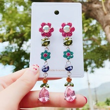 New Korean Fashion Elegant Colorful Crystal Pendant Earrings Temperament Joker Women Jewelry