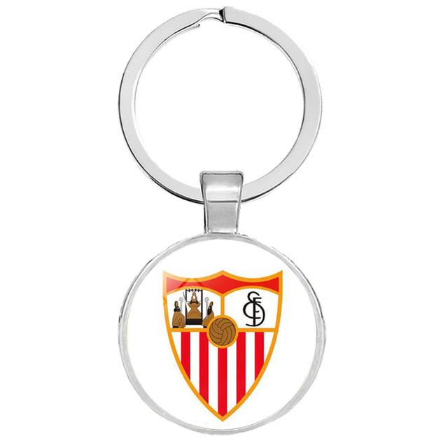 Football Club Logo Keychain Jewelry Glass Cabochon Team Logo Keychain Ring for Football Fans