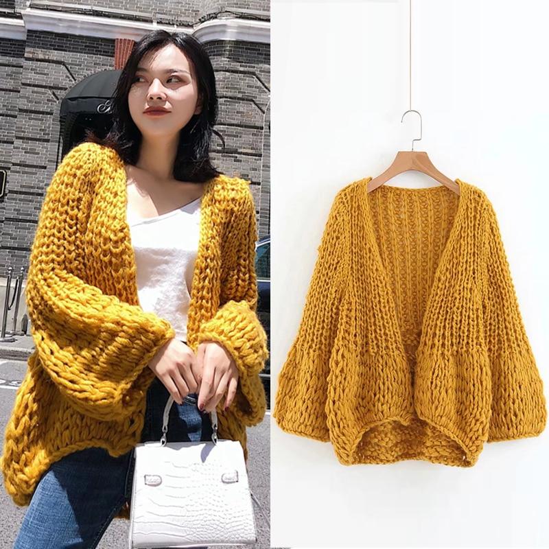 New Autumn Cardigan Women Clothing Knit Sweater Women 2018 Fashion Harajuku Loose Warm Women Casual Long Sleeve Winter Coat
