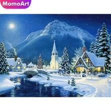 MomoArt Diamond Painting Landscape Snow Night Full Square Drill Rhinestone Needlework Mosaic Kits Embroidery