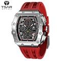 TSAR BOMBA Mens Tonneau Watches 316L Stainless Steel Sapphire Wristwatch Quartz Luxury Sport Waterproof Chronograph Fashion Gift