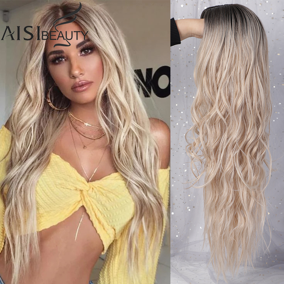 AISI BEAUTY Long Women's Wig  Middle Part Long Wavy Wigs Heat Resistant Fiber Wig Blonde Red Grey Wigs For Women Cosplay Hair