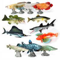 Figura modelo de pez simulado cocodrilo gar, Arowana plateada, Pez Dragón, salmón, Pacífico-salmón para decoración de cocina y hogar