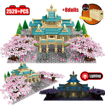 2529pcs Cherry Blossom Season City Street View Sakura Tree House Flower Architecture Building Blocks Bricks Toys for Children