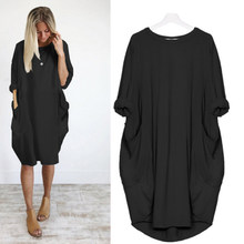 Abito da donna Casual allentato tasca da donna moda tinta unita o-collo top lunghi abito T-Shirt femminile Streetwear Plus Size 5XL