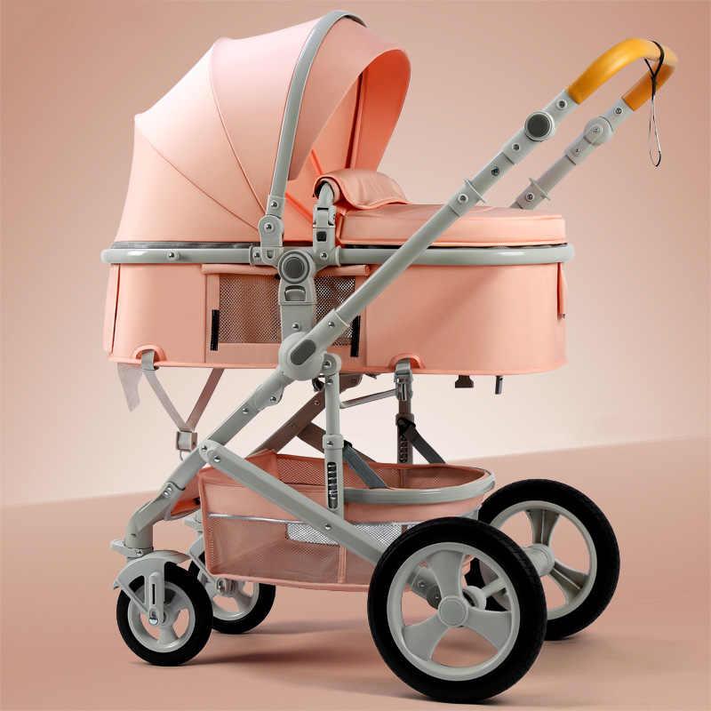 Beleeco carrinho de criança alta paisagem carrinho de bebê 2 em 1 carrinho de viagem em dois sentidos quadro alumínio padrão da ue carro 10pcs presentes