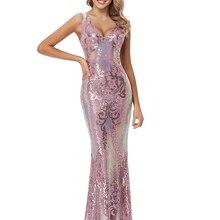 XUCTHHC V Neck V Back Sleeveless Sequins Evening Dress Mermaid Party Dress for Women Formal Occasion Floor Length Gown