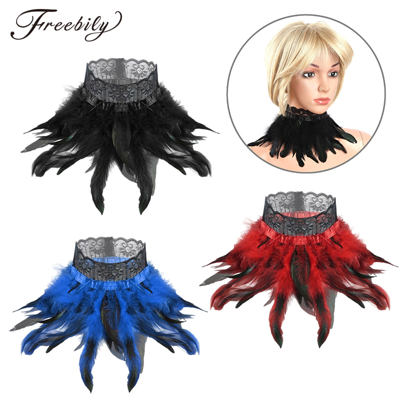 Feather Collar Women Gothic Victorian Natural Feather Lace Choker Neck Wrap Collar Stage Performance Cosplay Costume Accessories
