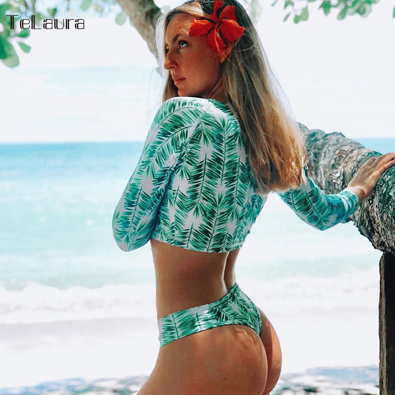 2020 New Arrival Sexy High Waist Bikini Swimwear Women Swimsuit Long Sleeves Biquini Push Up Bathing Suit Padded Bikinis Women