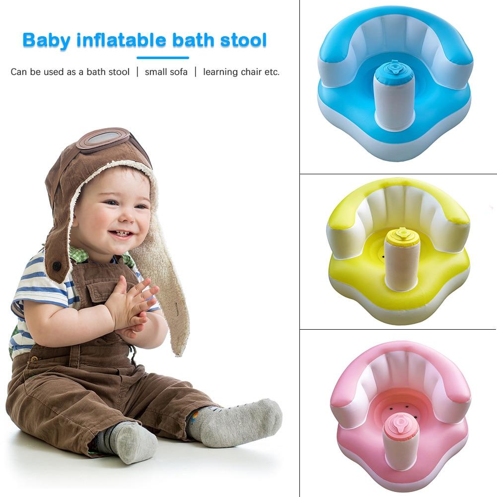 Inflatable Bathroom Sofa Armchair Seat  Baby Kids Inflatable Chair Sofa Portable PVC Bath Dining Seat Learn Stool