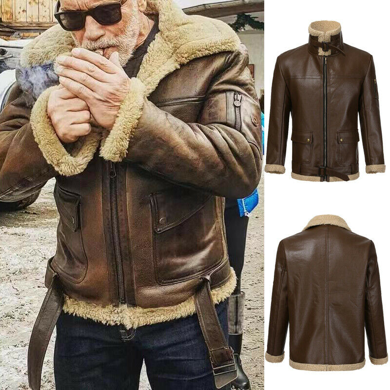 2020 Winter Men Retro Faux Leather Jacket Stand Collar Zipper Lined With Wool Warm Coat Brown Cool Style Plus Size M-3XL