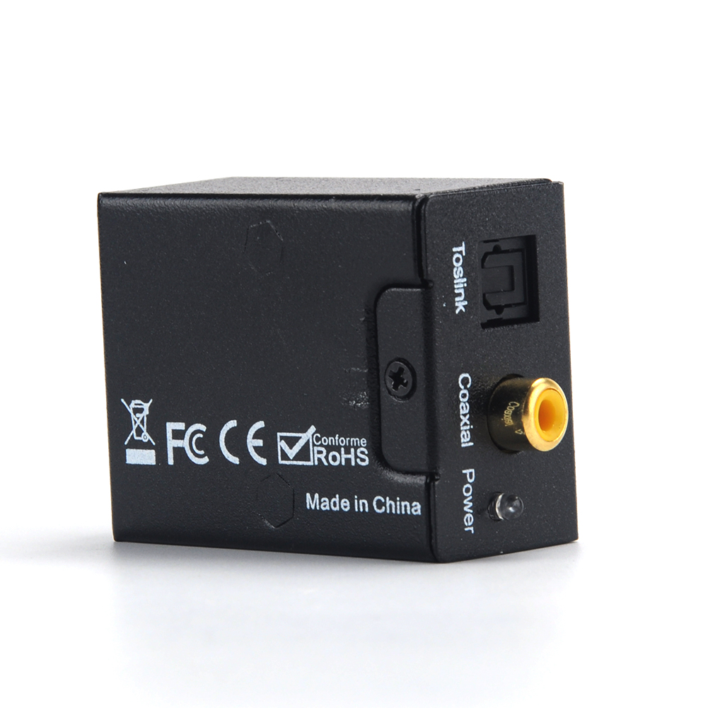 Digital Optical Coaxial Toslink Signal To Analog Audio Converter Adapter  Digital To Analog Audio Converter Black