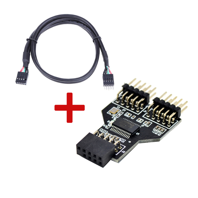 Motherboard USB 9Pin Interface Header Splitter 1 To 2 Extension Cable Adapter 9-Pin USB HUB USB 2.0 Connectors For RGB Bluetooth