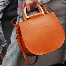 AETOO Vintage wooden handle handbag, female leather shoulder crossbody bag, literary saddle pack