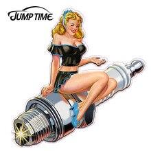 Jumptime 13cm x 12.3cm gráficos sexy retro faísca plug pino up pin-up menina adesivos de carro e decalques vinil jdm carro pára-choques decalque
