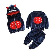 Làm dày Ấm cho bé Bộ Quần Áo Đầm nữ Năm mới Giáng Sinh Snowsuit Áo Phù Hợp cho bé gái bé trai 3 cái/bộ Quần Áo Trẻ Em